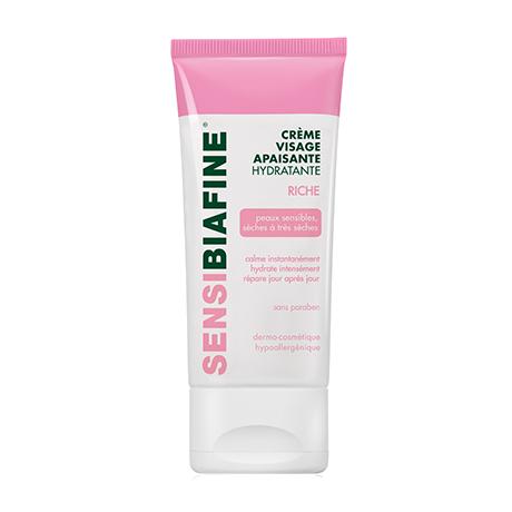 Crème visage apaisante hydratante riche pour peaux sensibles