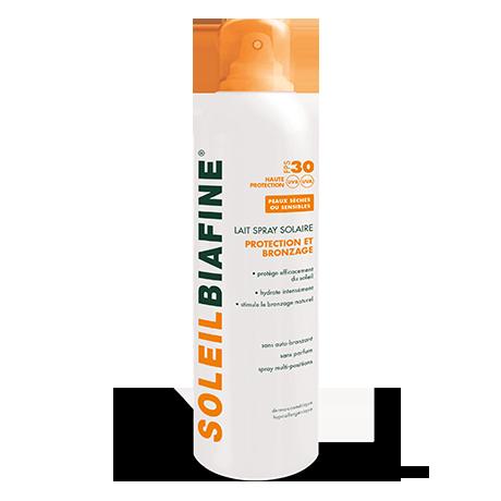 Lait spray solaire protection et bronzage FPS 30, haute protection UVA et UVB